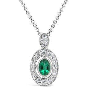 Pendant Necklace  Wg 14K Halo Emerald With Diamond